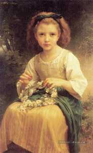 William Adolphe Bouguereau - Enfant tressant juin couronne