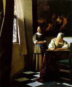 Jan Vermeer - Lady Writing a Letter wit..
