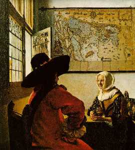 Jan Vermeer - Soldier and a Laughing Gi..