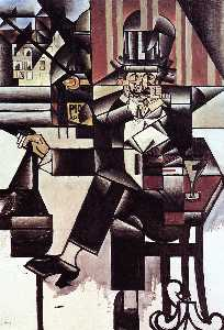 Juan Gris - Man in the Cafe