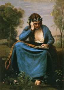 Jean Baptiste Camille Corot - The Reader Wreathed with Flowe..