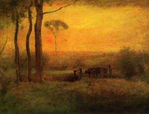 George Inness - Pastoral Landscape at Sun..