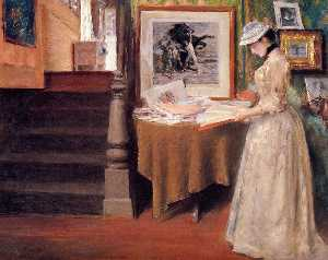 William Merritt Chase - Interior, Young Woman at ..