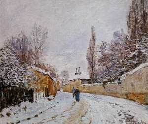 Alfred Sisley - Road under Snow, Louvecie..