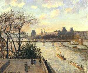 Camille Pissarro - The Louvre and the Seine ..