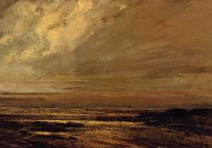 Gustave Courbet - The Beach at Trouville at..