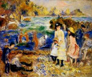 Pierre-Auguste Renoir - Children by the Sea in Gu..