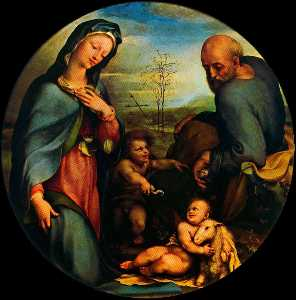 Domenico Di Pace Beccafum.. - Holy Family with St. John