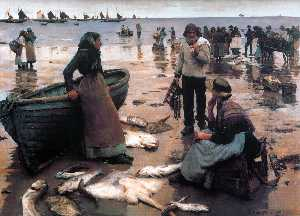 Stanhope Alexander Forbes - A Fish Sale on a Cornish ..