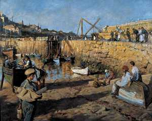 Stanhope Alexander Forbes - Fitting Out, Mousehole Ha..