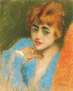 Jozsef Rippl Ronai - Girl Dressed up in Blue
