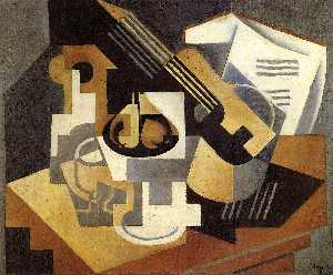 Juan Gris - Guitar and fruit dish