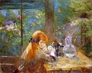 Berthe Morisot - Red haired girl sitting o..