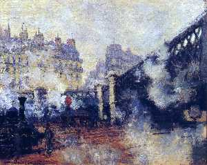 Claude Monet - The Pont de l'Europe, Gare Sai..