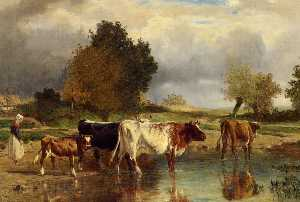 Constant Troyon - Calf cows at the marl