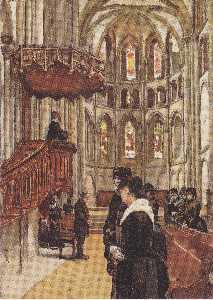 Ferdinand Hodler - Prayer in the Saint Pierr..