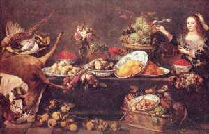 Frans Snyders - Large still life with a l..
