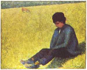 Georges Pierre Seurat - Peasant boy sitting in a ..