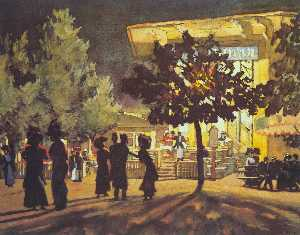 Konstantin Yuon - The Night. Tverskoy Boule..