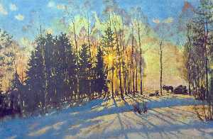 Konstantin Yuon - The Winter Sun. Ligachevo