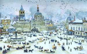 Konstantin Yuon - The Lubyanskaya Square in..