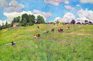 Konstantin Yuon - The Rural Holiday. On The..