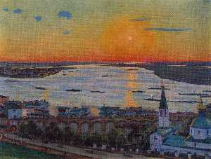 Konstantin Yuon - The Sunset on Volga. Nizh..