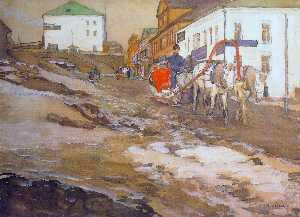 Konstantin Yuon - The Red Sled. The Troitse..