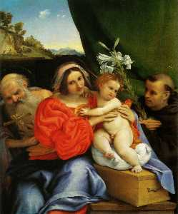 Lorenzo Lotto - Madonna with St. Jerome a..