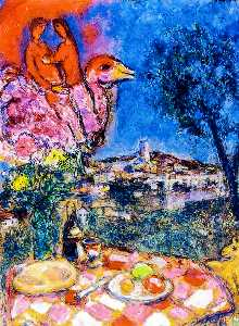 Marc Chagall - Laid Table with View of S..