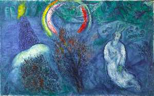Marc Chagall - Moses with the Burning Bu..