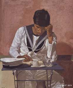 Yiannis Tsaroychis - Mariner reading on pink b..