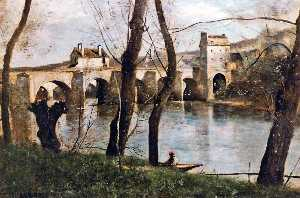 Jean Baptiste Camille Cor.. - The Bridge at Mantes