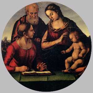 Luca Signorelli - The Holy Family with Sain..