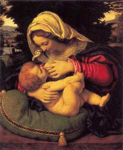 Andrea Solario - Madonna of the Green Cush..