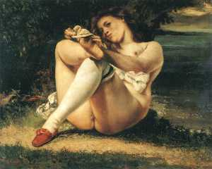 Gustave Courbet - Woman with White Stocking..