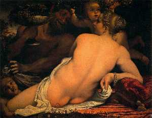Annibale Carracci - Venus with a Satyr and Cu..
