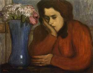 Jozsef Rippl Ronai - Pensive Woman with Vase o..