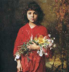 Alexei Alexeievich Harlam.. - Portrait of a young girl ..