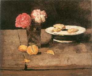 Carl Eduard Schuch - Roses, orange and biscuit..