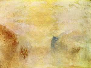 William Turner - Sunrise, with a Boat between H..