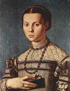 Agnolo Bronzino - Portrait of a girl with b..