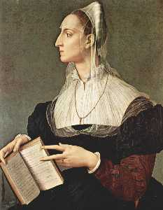 Agnolo Bronzino - Portrait of Laura Battife..