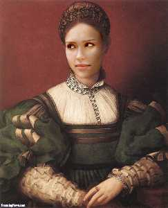 Agnolo Bronzino - Portrait of a Lady in Gre..