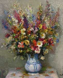 Marcel Dyf - Bouquet with Delphinium, ..