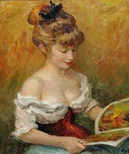 Marcel Dyf - Claudine with Book