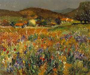 Marcel Dyf - Field of Flowers in Prove..
