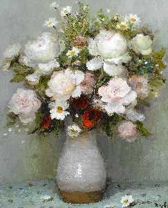 Marcel Dyf - Roses and Papavers Red