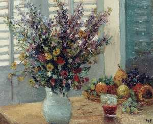 Marcel Dyf - Vase of Flowers and Fruit..