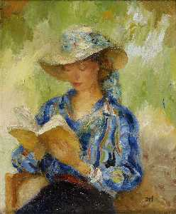 Marcel Dyf - Young woman reading